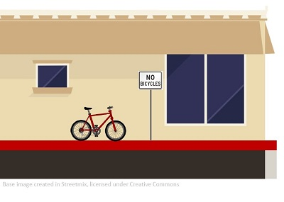 Graphic of bike parked on red curb