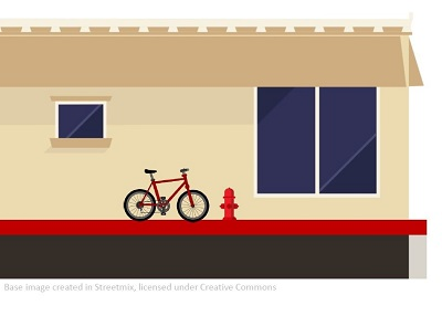 Graphic of bike next to fire hydrant