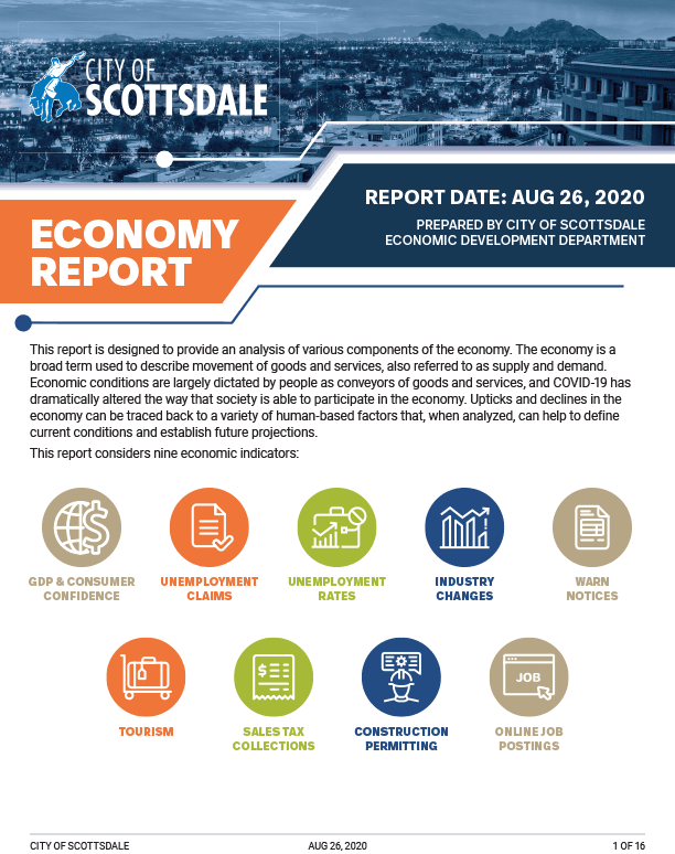 Cover image of Scottsdale Economic Report - 2020 August report