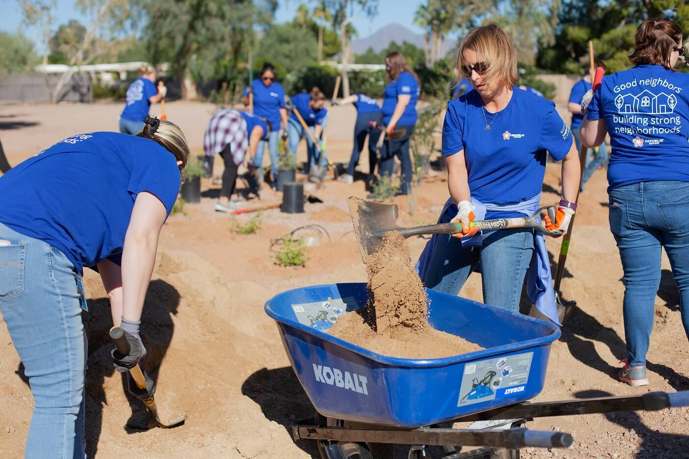 Volunteers digging in holes and transfering dirt into a wheel barrow