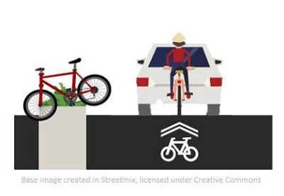 Graphic of a bike parked in a median