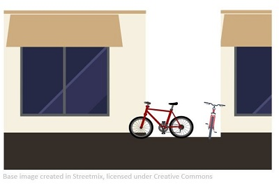 Graphic of bike parked in driveway