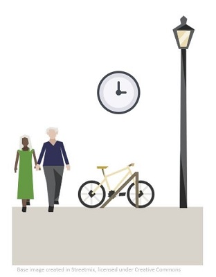 Graphic of bike parked with clock