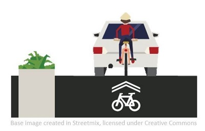 Graphic of bike behind car