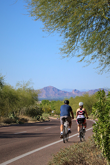 photo of two bikers on Thompson Peak Parkway
