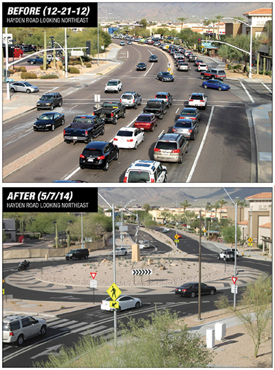 Traffic before and after Northsight roundabout